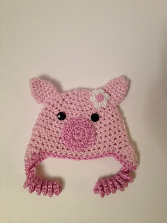 Crochet Baby Hat Pig Hat 0 3 Months Products Crochet Baby Hats