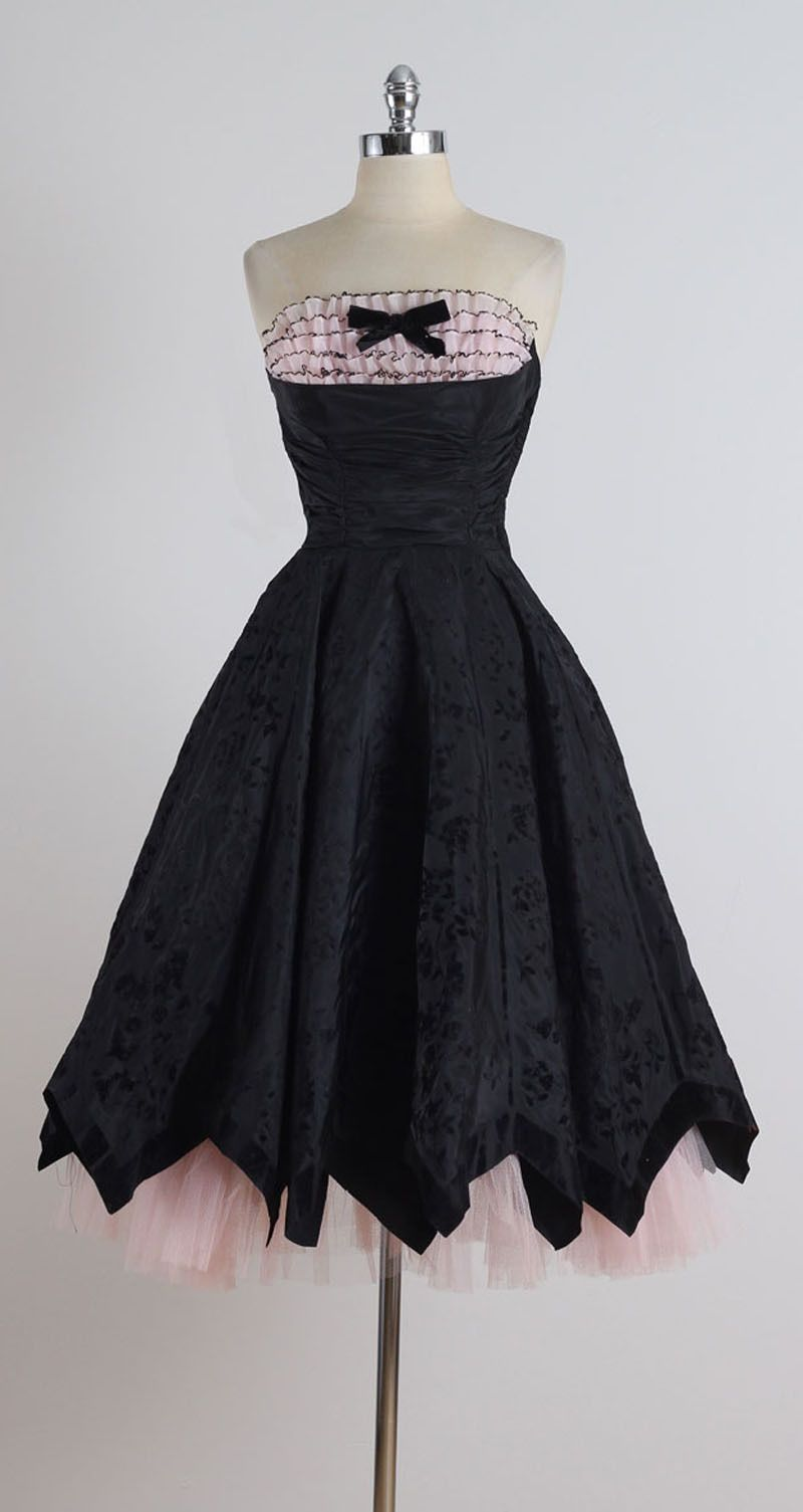 1950/'s Black and Pink Cocktail Dress