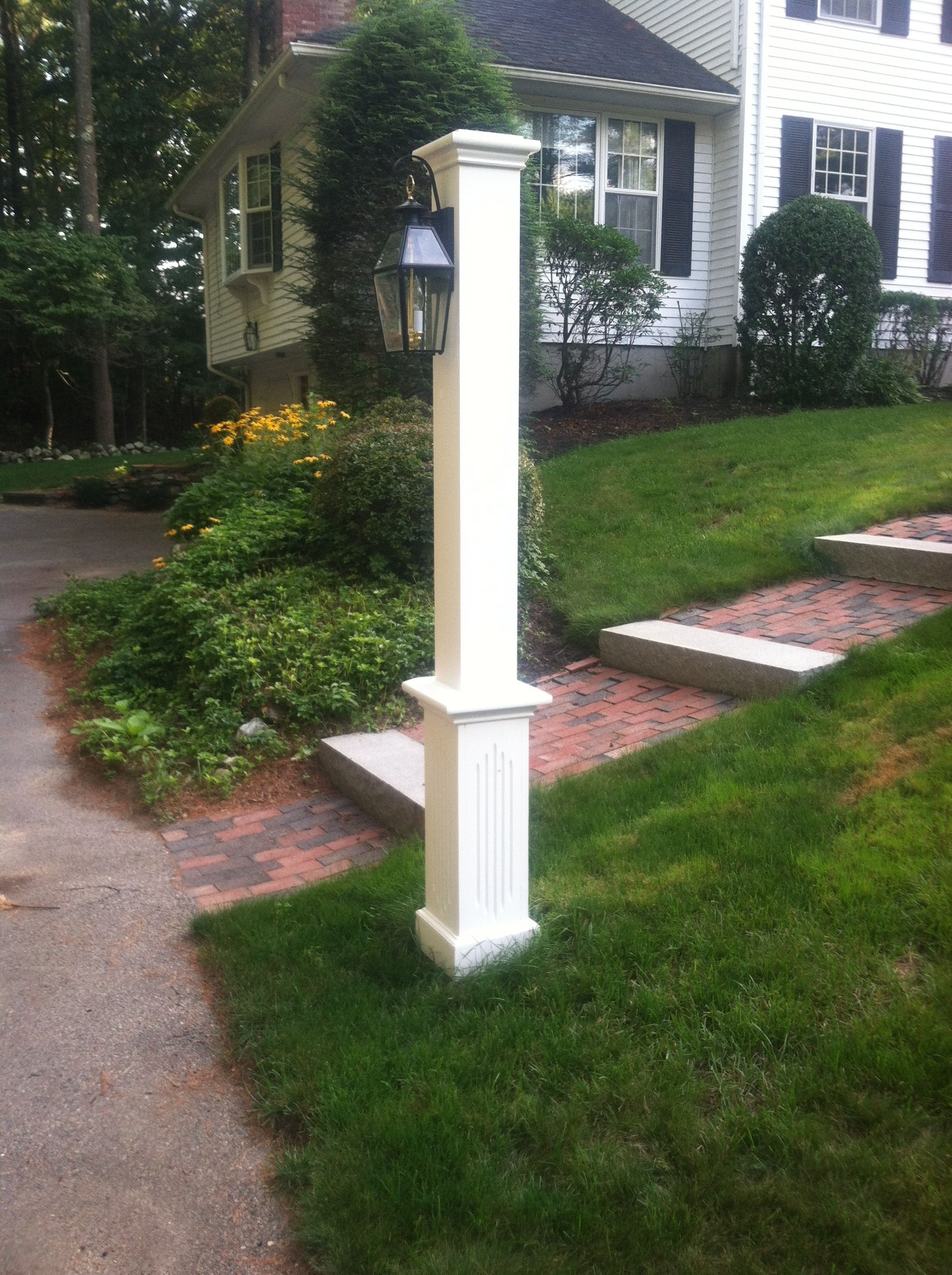 Custom Lamp Post Stained White In 2019 Outdoor Posts