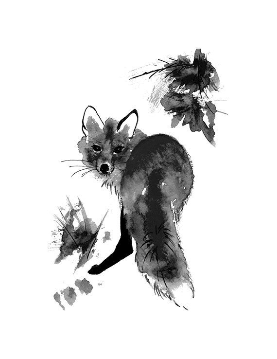 Black And White Fox Watercolor Painting Print by ...