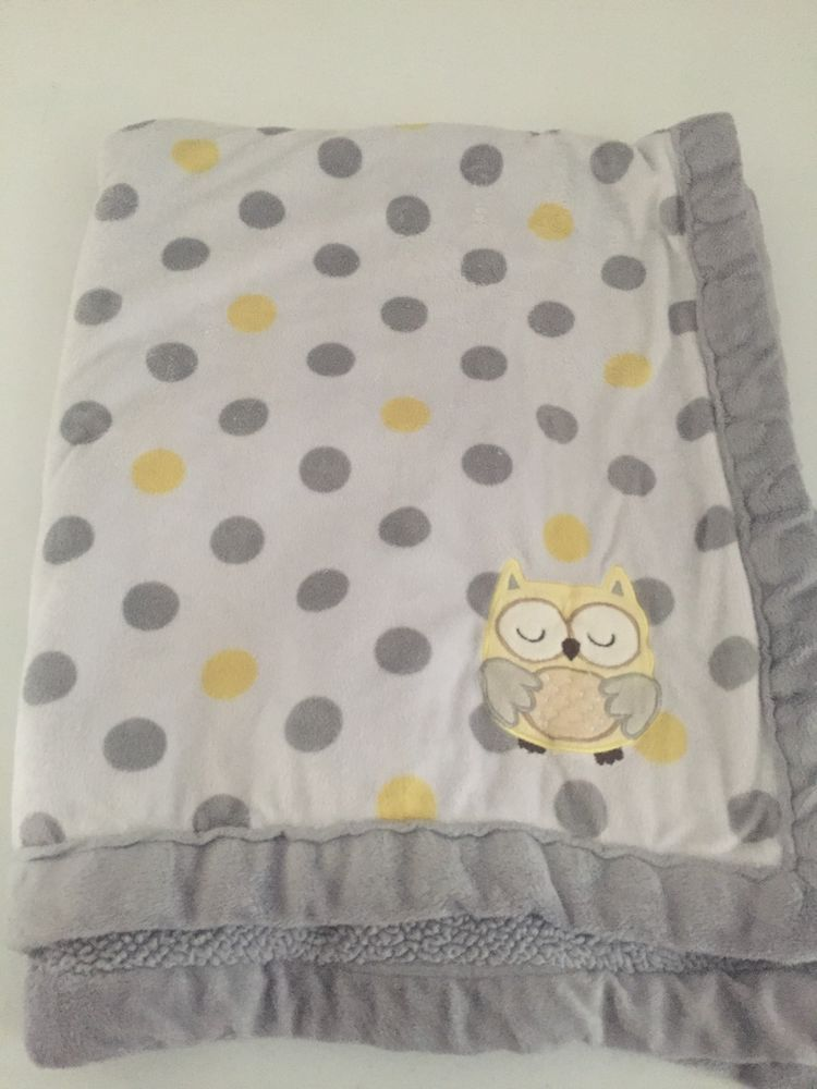 4dc135bb1d Carters Child of Mine Owl Baby Blanket White Yellow Grey Polka Dot Minky  Sherpa