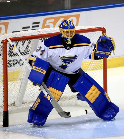 Sunrise Fl October 12 Jake Allen 34 Of The St Louis Blues Warms Up During A Game Against The St Louis Blues Hockey Hockey Goalie Equipment Hockey Posters