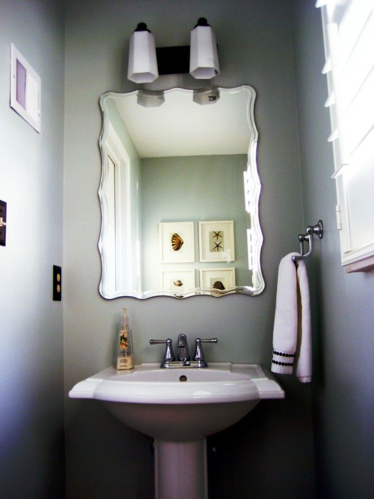8 Amusing Half Bathroom Decorating Ideas For Small Bathrooms Pic Ideas. love the paint color and mirror   For the Home   Pinterest