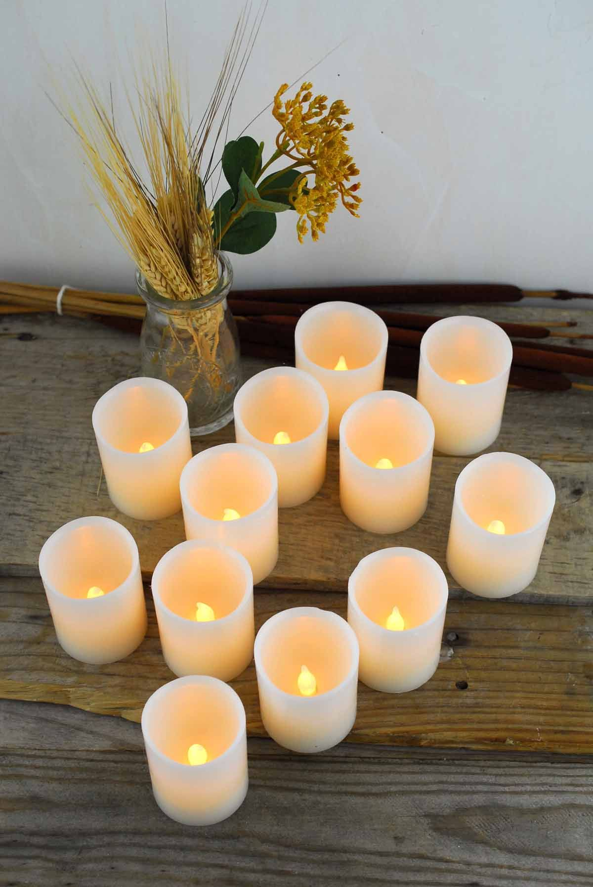 Flameless Votive Candles Set Of 12 Led Wax Votive Candles  Wax Wedding And Weddings