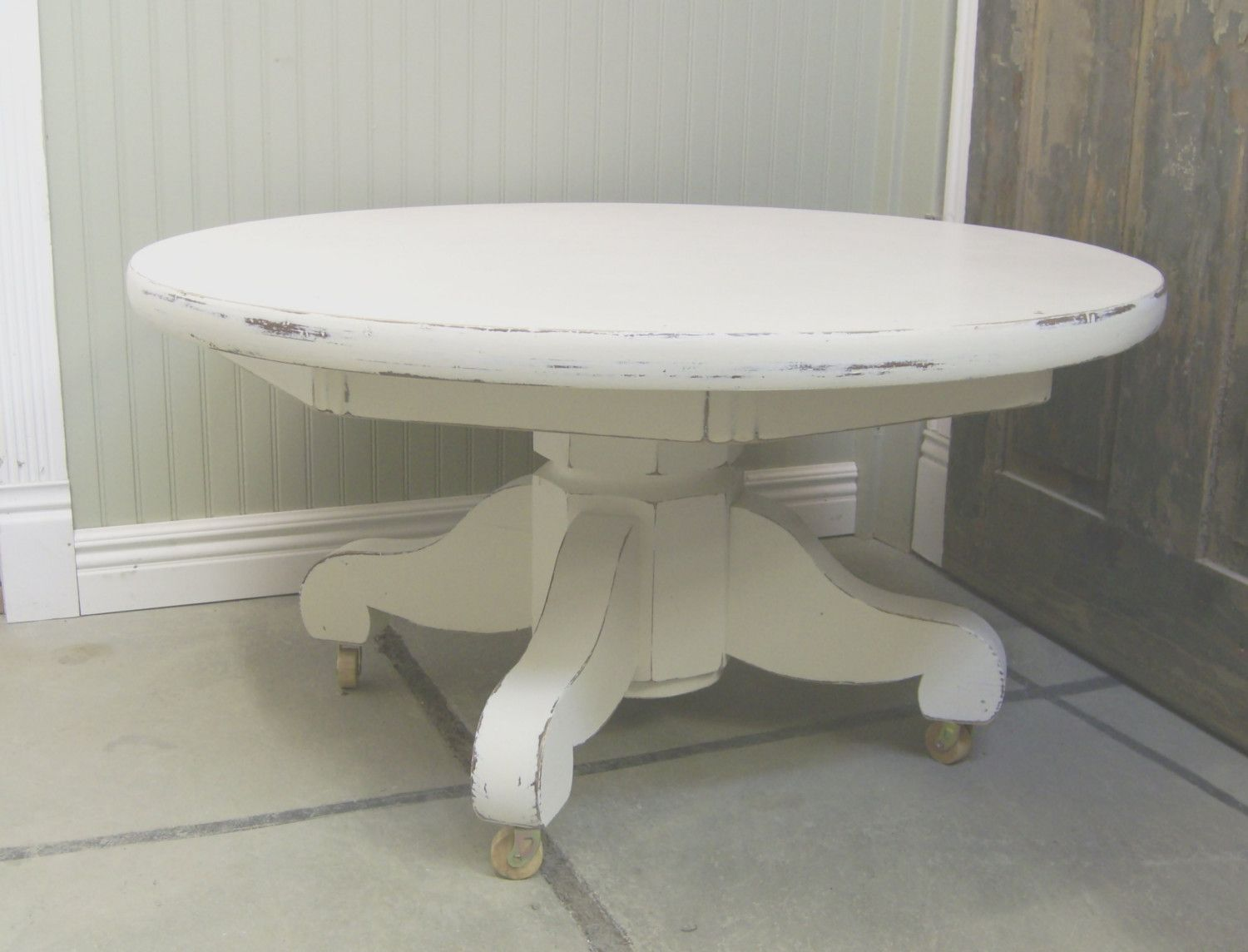Vintage Distressed White Pedestal Coffee Table By Royaloakcottage