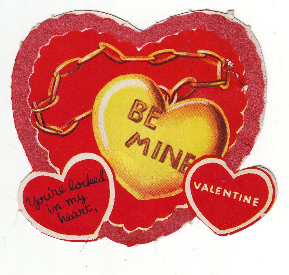 Vintage Valentine Greeting Card Be Mine Youre Locked In My Heart