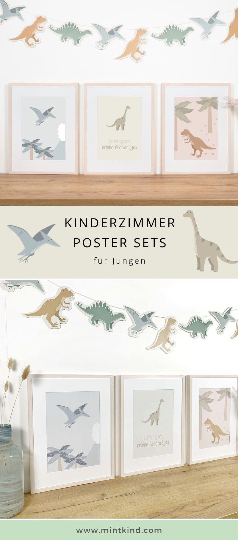 kinderzimmer poster set dinosaurier kinder zimmer wanddekoration silber kaufen