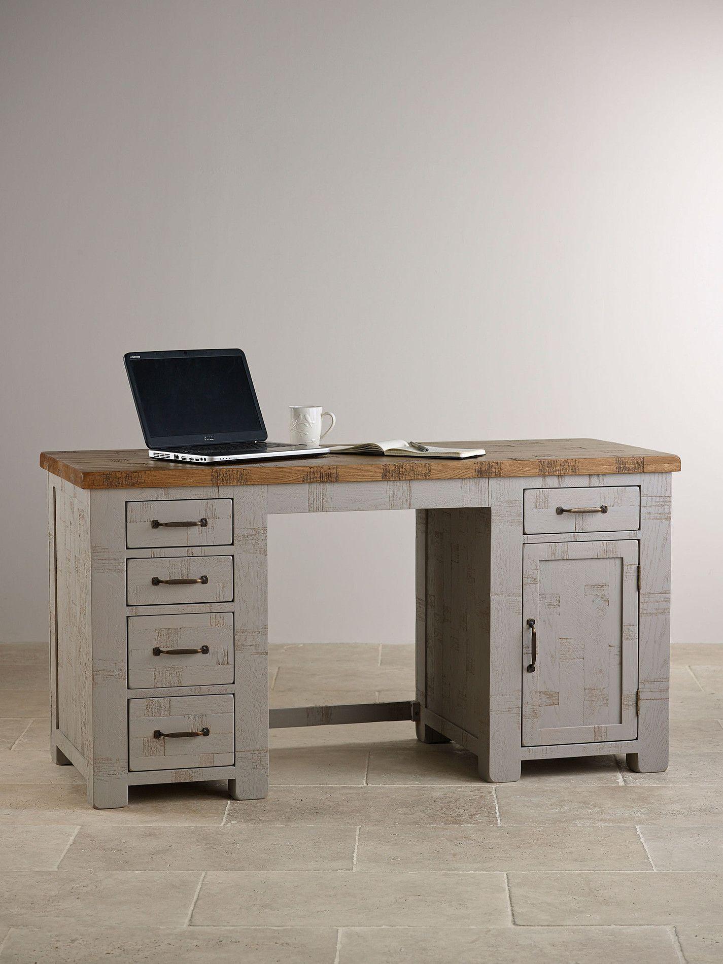 Clermont Painted Rough Sawn Solid Oak Computer Desk