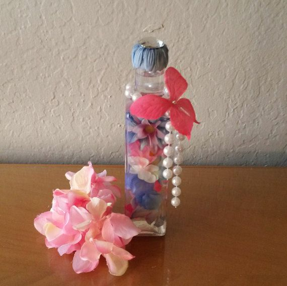 Pink Blue and White Silk Flower Bottle Bouquet with String of Pearls and Butterfly Embellishment, Home Decor, Decorative Bottle, Gift Ideas