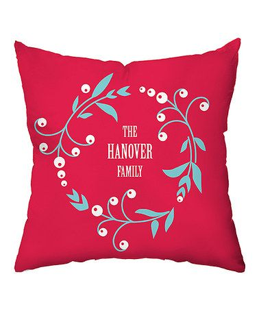 Loving this Festive Berry Wreath Personalized Throw Pillow on #zulily! #zulilyfinds
