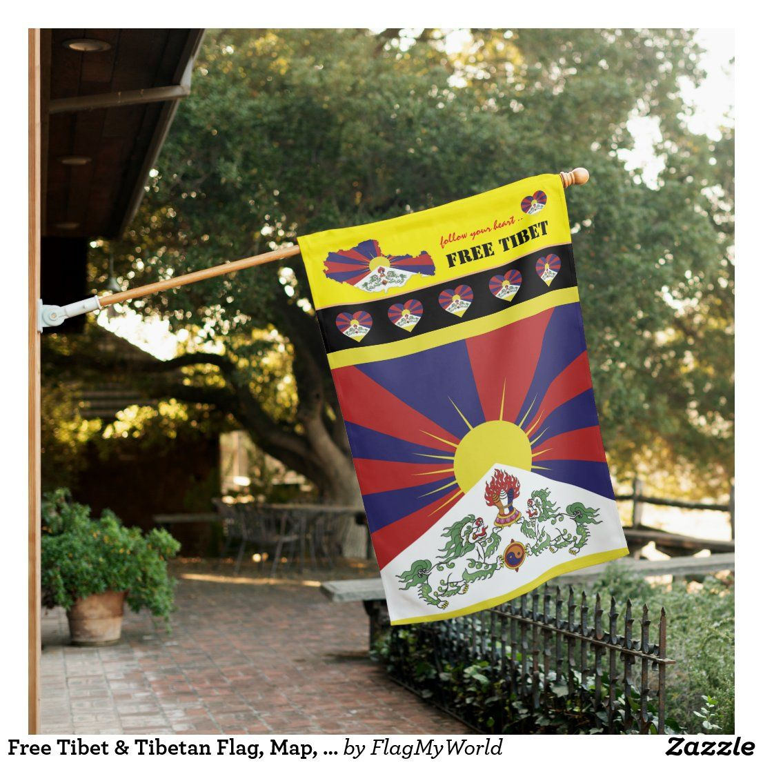 Free Tibet Tibetan Flag Map Heart Tibet House Flag Zazzle Com House Flags Printing Double Sided Tibetan