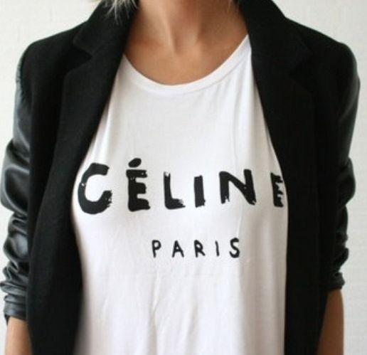 Celine T-Shirt.   Fashion, Style, Cute leather jackets