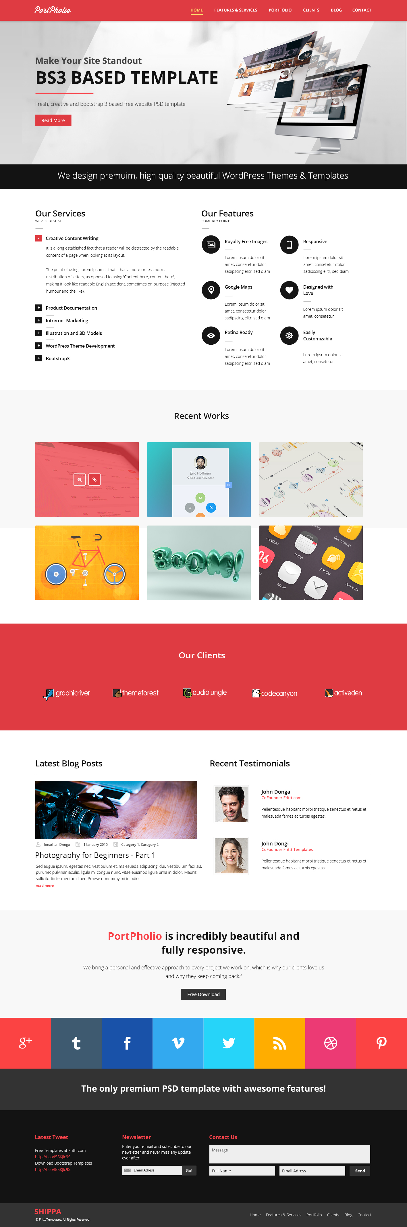 PortPholio is a free portfolio PSD Website Template! PortPholio is a ...