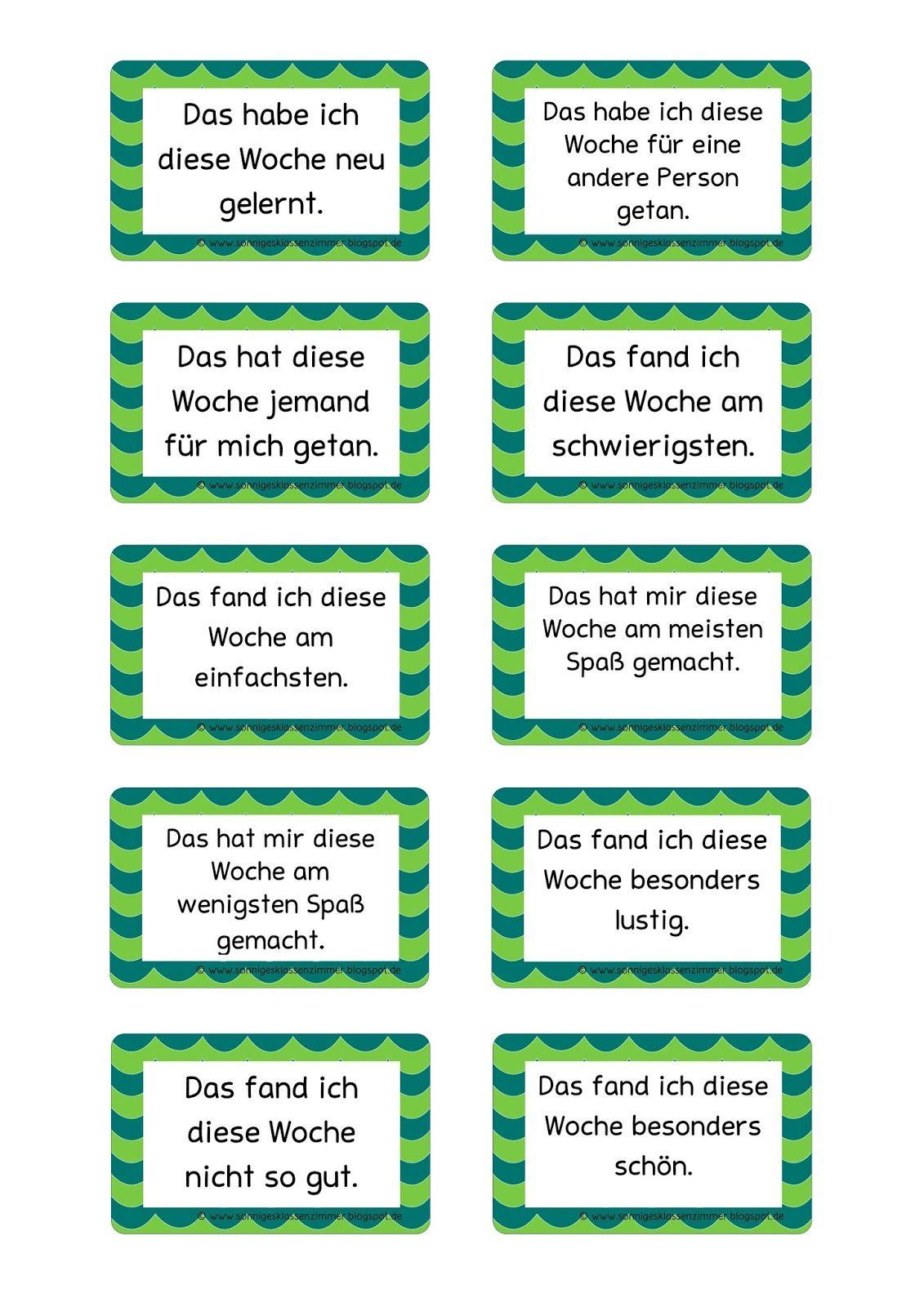 Wochenreflexionskarten für den Klassenrat | nemčina | Pinterest ...