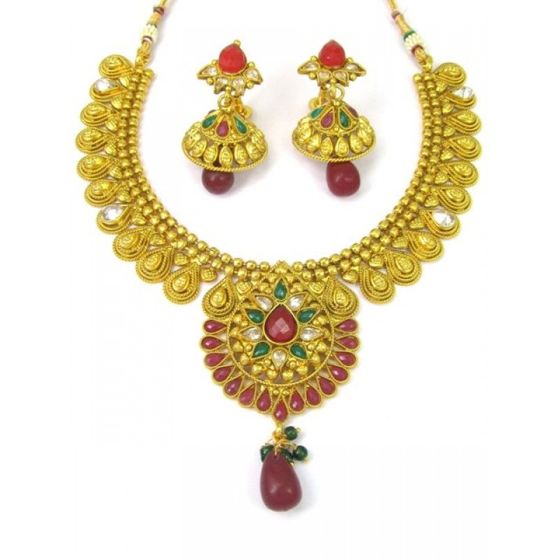 1aaa89d8a2 Designer New Polki Necklace Set With Matching Earrings - 86943 ( SD-Polki  Necklaces Vol 6 )