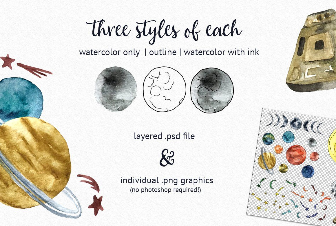 Watercolor Outer Space Toolkit (With images) Outer space