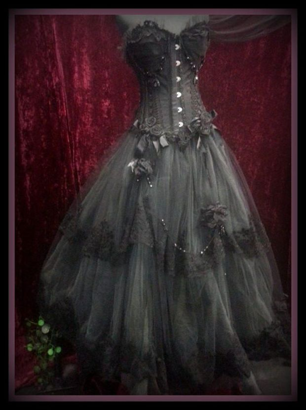 Stunning Black and Charcoal Wedding Bridal Formal Prom Gown Dress ...
