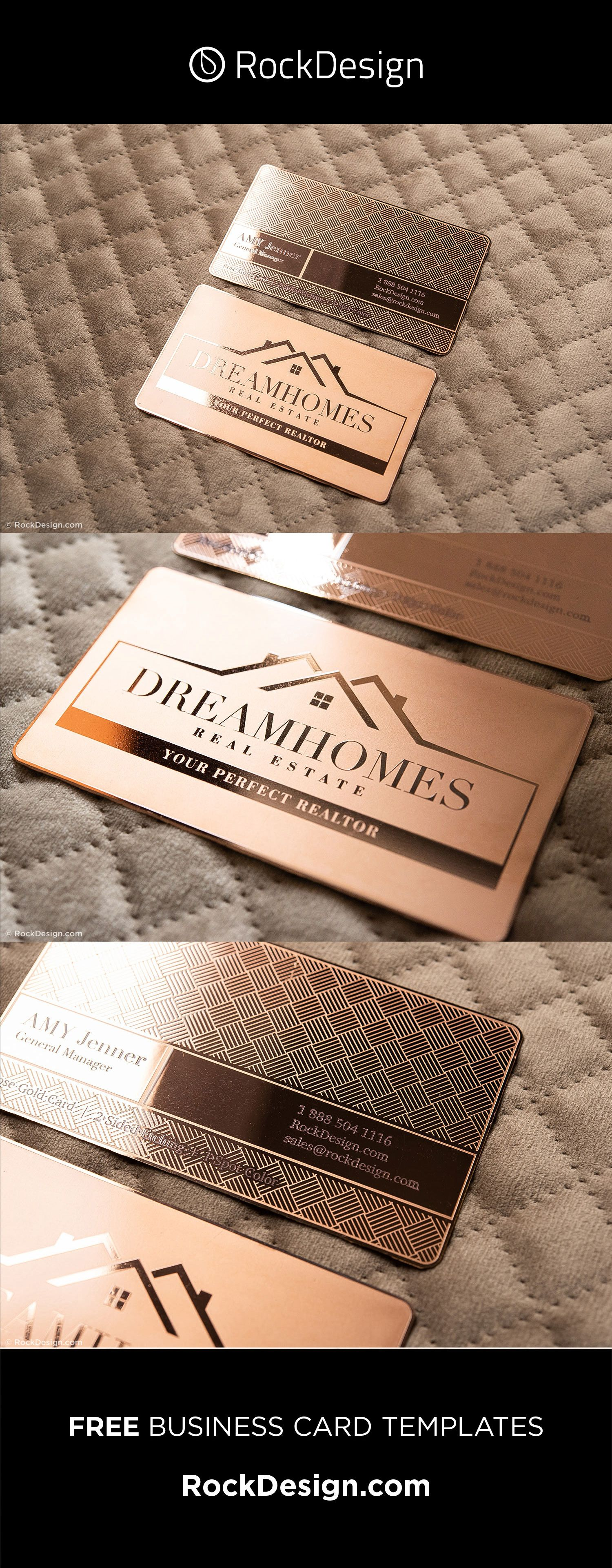 Classy Rose Gold Metal Visiting Card Template With Crosshatch Pattern Dream Homes Visiting Cards Visiting Card Templates Metal Business Cards
