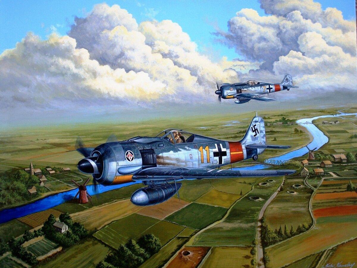 Pinturas Aviación II Guerra Mundial — 1944 04 Wolves over Holland - Kostas Kavvathias Fw...