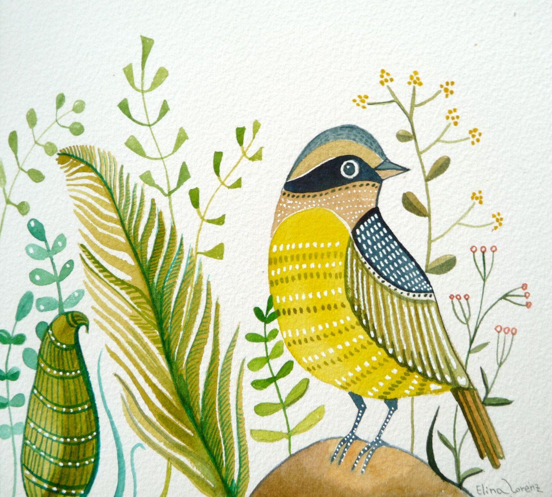 Bird / Green / Yellow / Rock /Print of watercolor painting / Spring ...