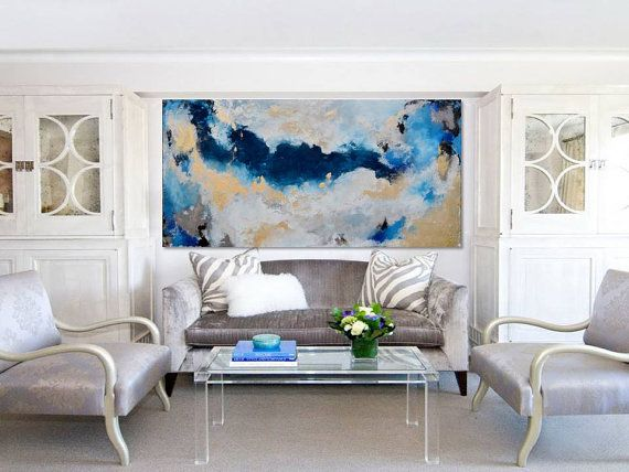 Light Blue Painting,Light Blue Wall Art Large Contemporary Abstract Art On Canvas Original Modern Wall Decor Light Blue Abstract Painting