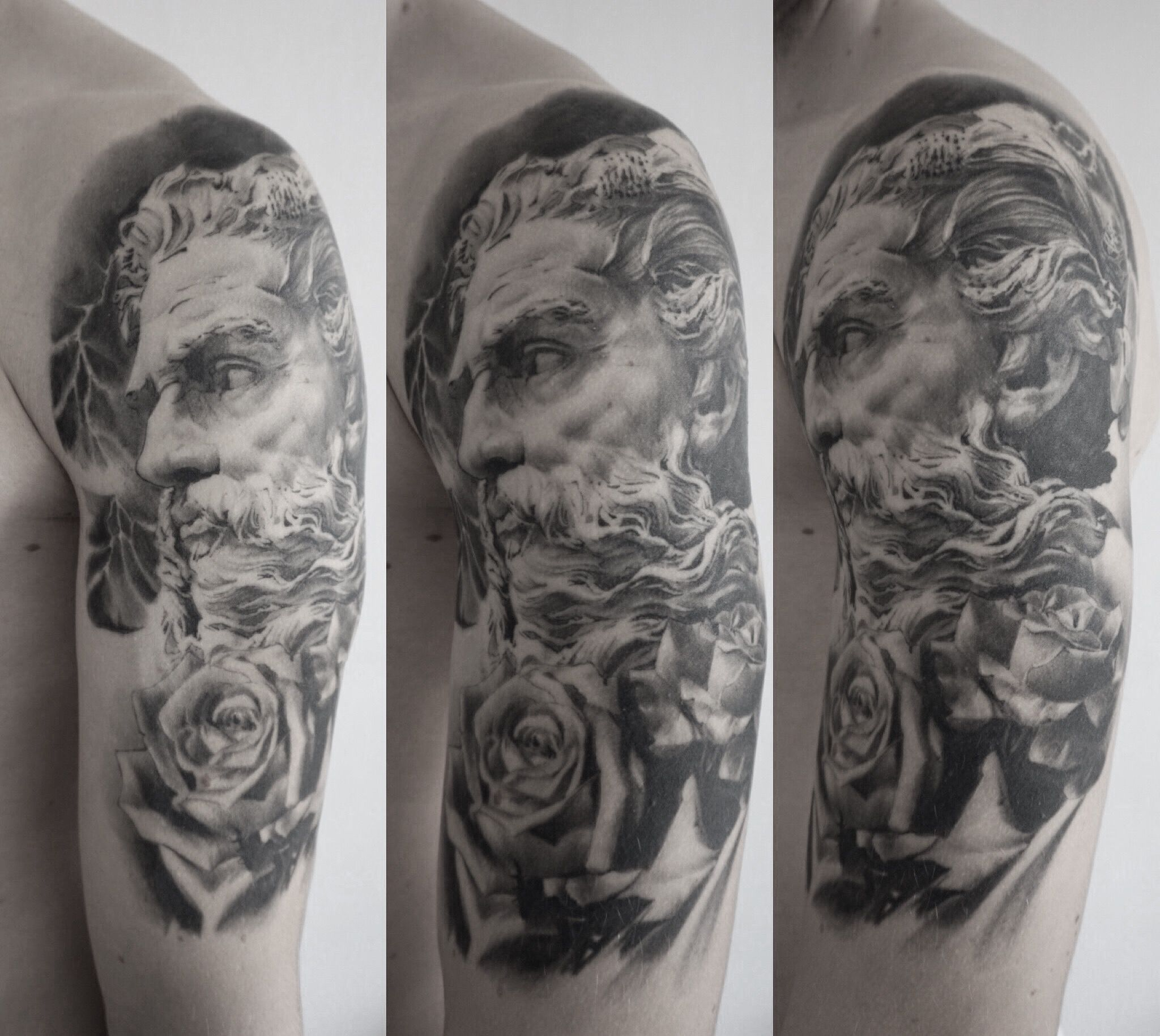 Zeus N Roses Tattoo Tattoo Zeus Greek God Rose Roses Lightning Bolt Blackandgrey Black Grey Sleeve Halfsleeve Portrait Ink Tattoos
