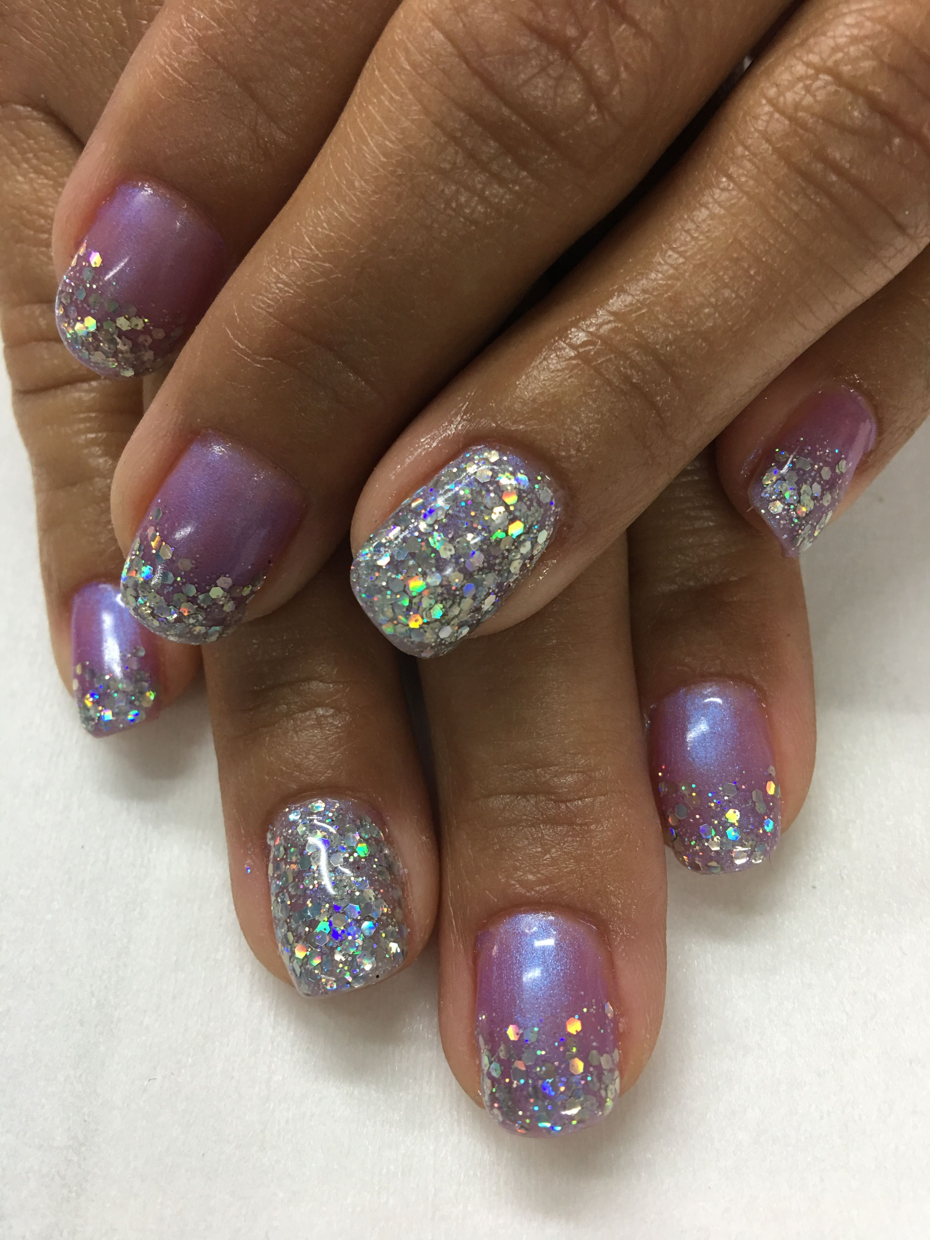 Pink purple iridescent Chunky Glitter Ombré Gel Nails | Gel Nail ...