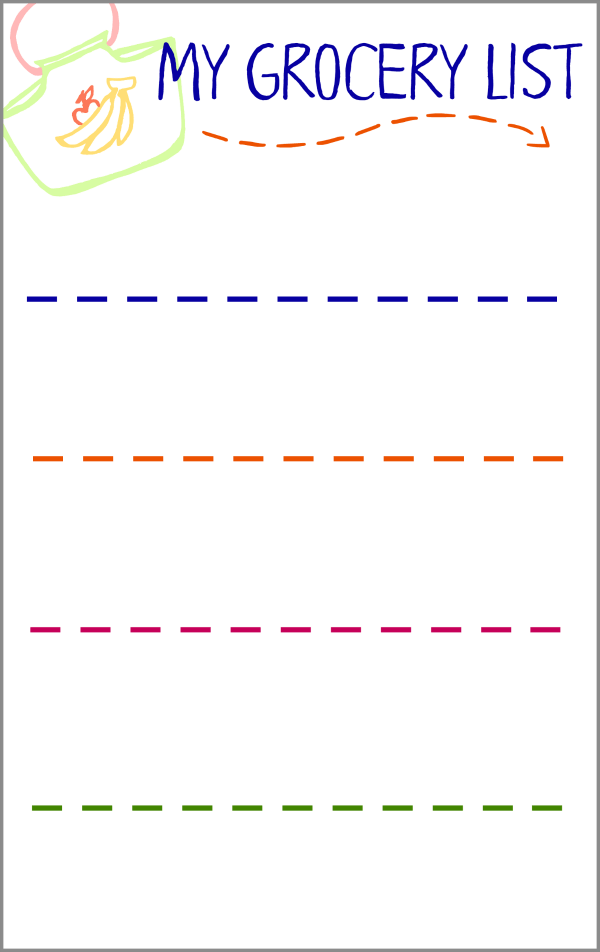 Grocery List Activity for Preschoolers with Free Printable ...