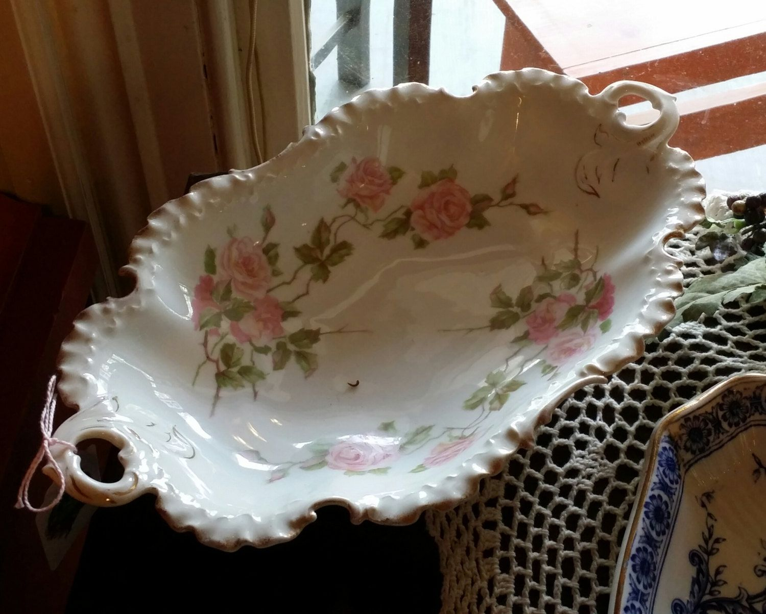 Vintage Rosenthal China Serving Dish with Handles Pink Roses and
