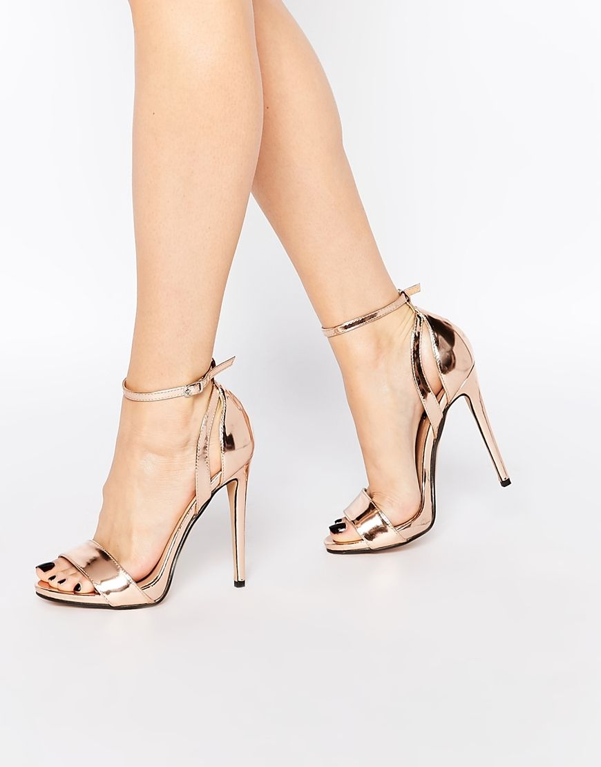 87744319d697 Image 1 of Lost Ink Raula Rose Gold Two Part Heeled Sandals