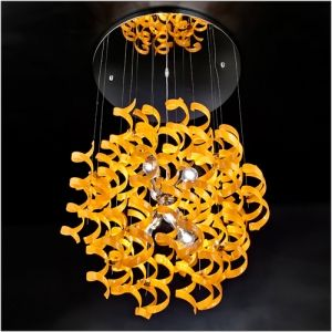 Metal Lux Astro 6 Light Orange Glass Pendant 206.175.12  A chrome plated hanging lamp ideal for more contemporary environments, complete with 60 orange spiral crystal glasses.  The frame is also available in 24kt gold plate, while the glass comes in many different colours.