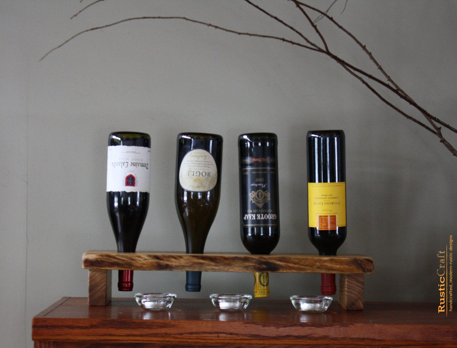 Wood Riddling Rack - 4 Bottle Wine Holder - Unique Personalized Wedding Gift - 5th Anniversary Gift - Easter Host Gift W108-4