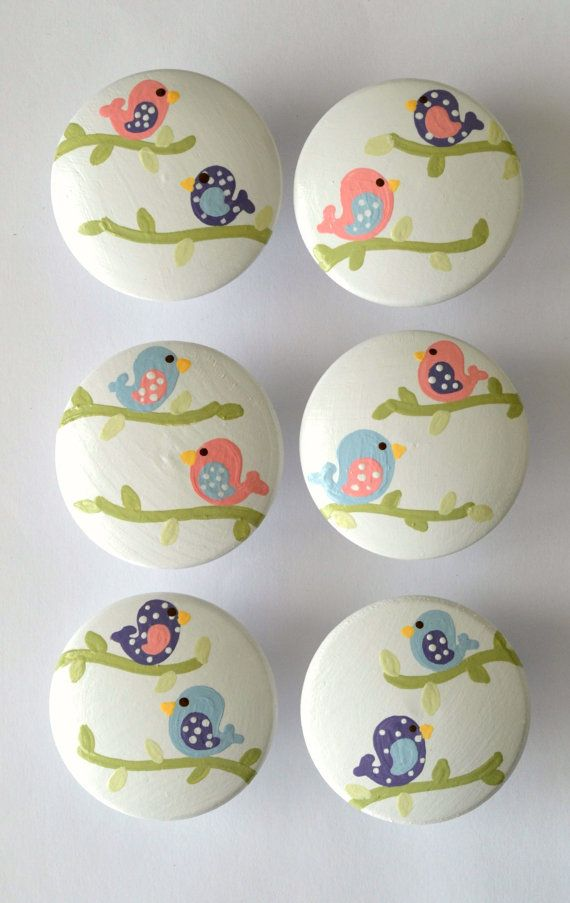 Birds and Branches Knobs by FrogsAndFairytales on Etsy, $5.00- So cool for a baby girl's room.