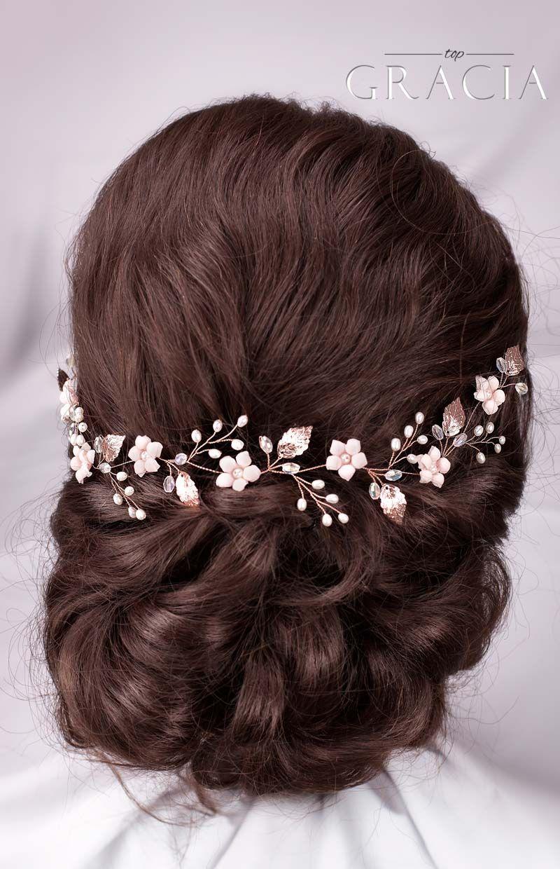 Blush pink hair piece Silver wedding headpiece Bridal veils tiara Pink beaded crown Bohemian babys breath hairpiece Bridal hair crown