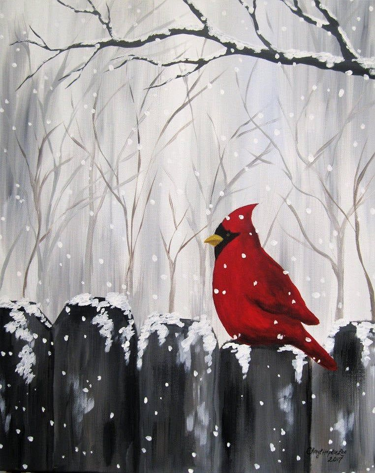 Cardinal in the Snow, Acrylic painting on a 16″ x 20″ stretched, gallery wrapped canvas