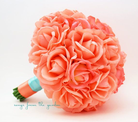 Coral real touch roses aqua ribbon wedding bouquet real - Rosas color coral ...