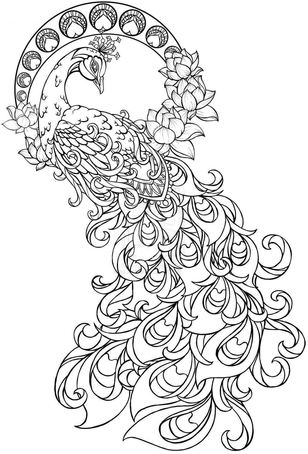 This Beautiful Large Peacock Paisley Pattern Tattoo Design Is
