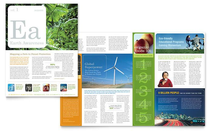 Environmental and Agricultural Non Profit Newsletter Design - microsoft word templates newsletter