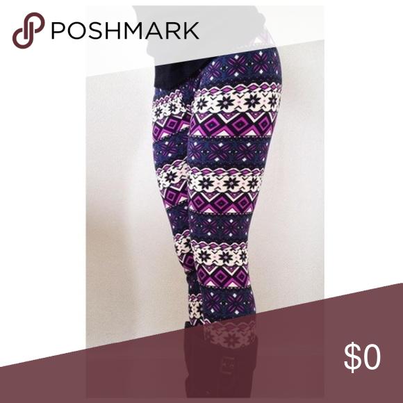 Purple holiday leggings Brand new purple fair isle leggings. One ...