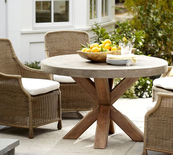 Abbott Concrete Top Round Fixed Dining Table Saybrook Armchair Set - Pottery barn concrete dining table
