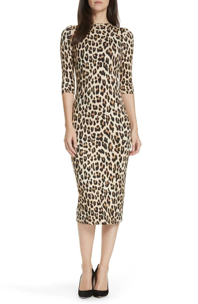 9ffe86544661 Delora Mock Neck Midi Sheath, Main, color, Textured Leopard ...