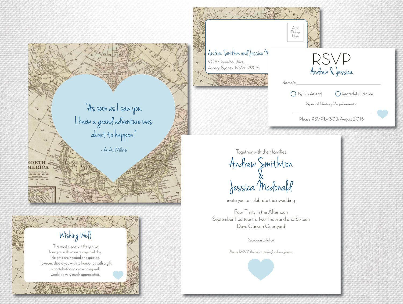 Destination Wedding Invitation ~ Vintage Map Print ~ Adventure ...