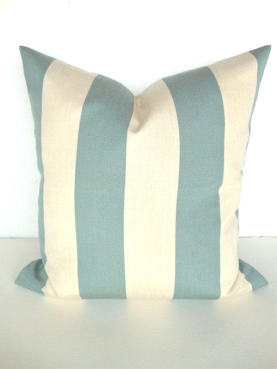 Exclusive Throw Pillows 12x16 16x20 Spa Striped Blue Throw Pillow