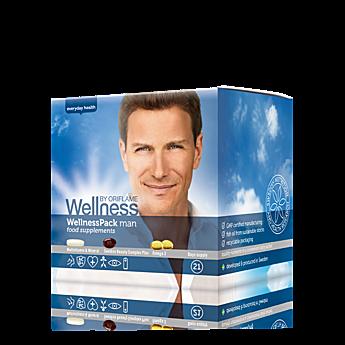 WellnessPack para homem com 12 vitaminas( A,B,C,D) e 10 minerais( Ferro, Zinco, Magnésio, Selénio, Cálcio,etc ).  Ómega 3 de salmão, é uma fonte de ácidos gordos essenciais de elevada qualidade, que apoia o normal funcionamento do cérebro, olhos e sistema nervoso, protege a saúde cardiovascular, alivia as inflamações e promove uma pele saudável. Astaxantina  um antioxidante que combate os radicais livres no interior das células. Tudo numa saqueta para tomar em casa ou levar para o seu…