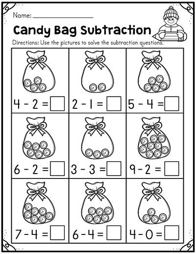 Winter Addition and Subtraction Worksheets (1 to 10
