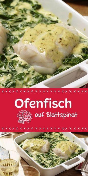 Ofenfisch auf Blattspinat