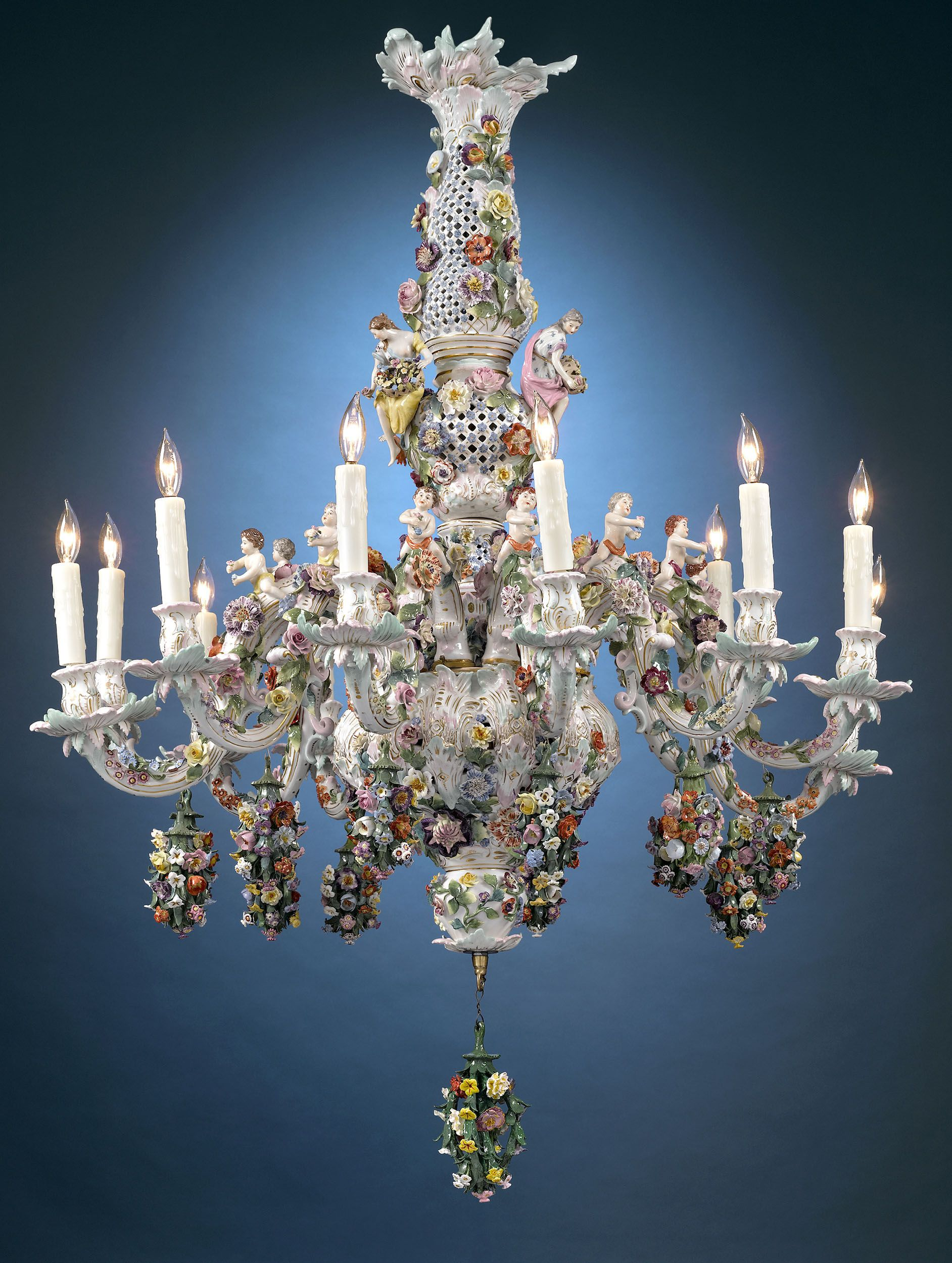 Meissen Porcelain 12 Light Chandelier