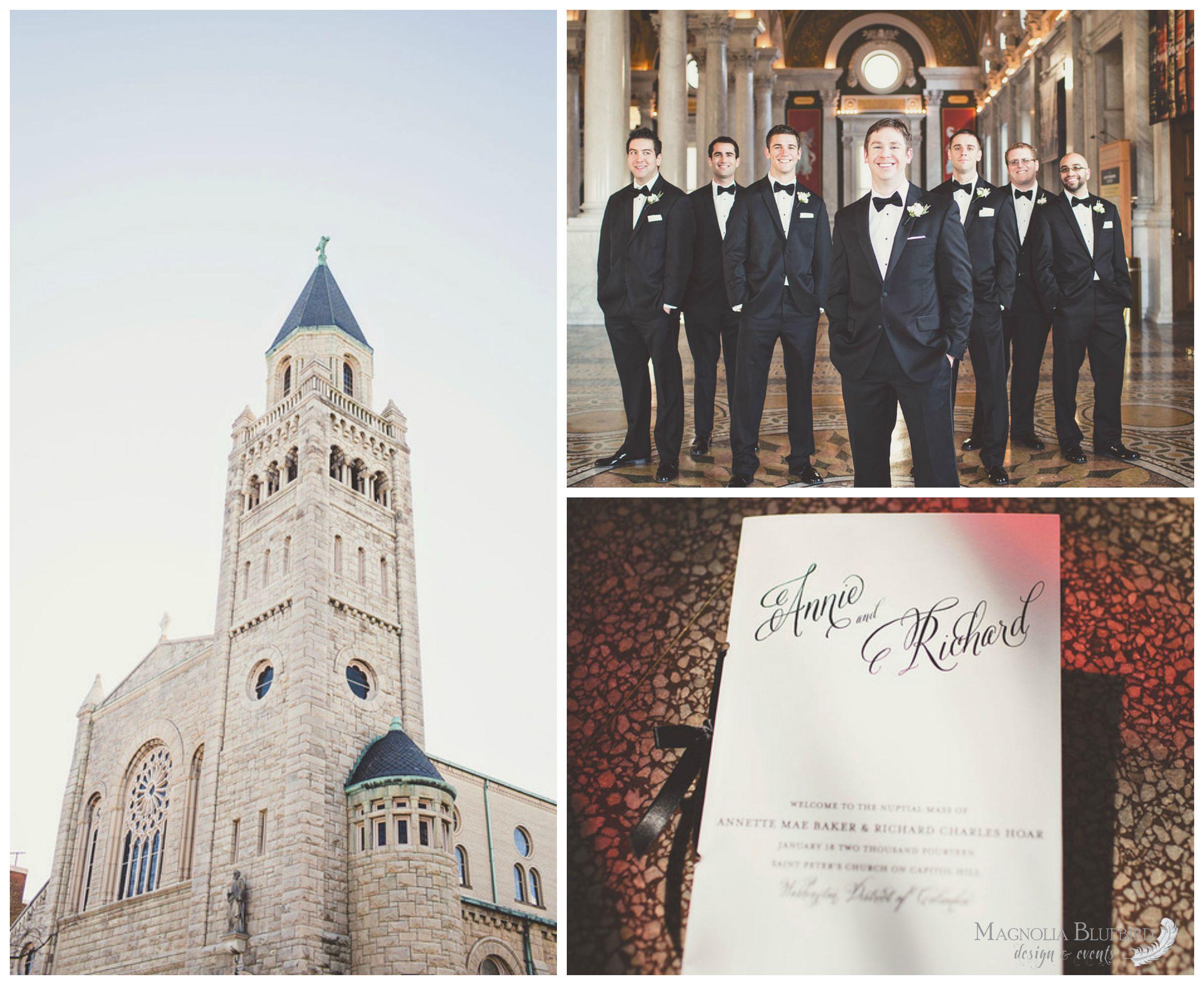 Church Ceremony | Groomsmen | Wedding Program | Classic | Elegant | Black and White | Magnolia Bluebird | Real Wedding | The Four Seasons, Washington DC