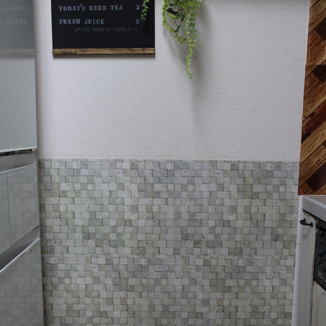 ダイソーの新柄リメイクシート コンクリート柄 でキッチンの壁をプチ