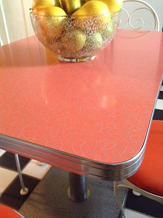 Mid Century Orange Boomerang Formica Kitchen Dining Or Dinertable